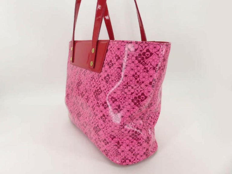 570a3f3f8c1e5 Louis Vuitton Murakami Cosmic Blossom Pm 870012 Pink Leather Tote In  Excellent Condition For Sale In