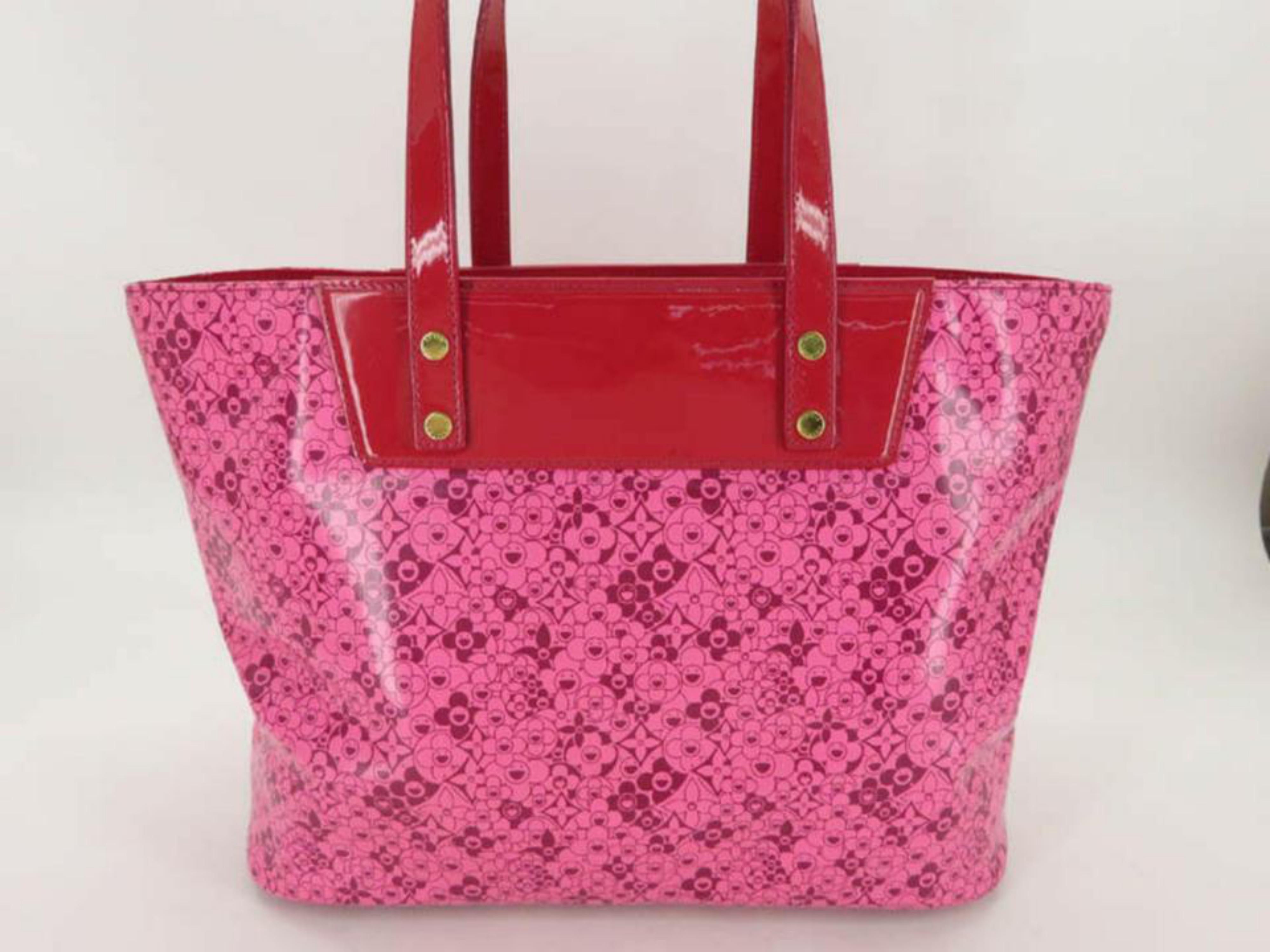 df3ebe9729231 Louis Vuitton Murakami Cosmic Blossom Pm 870012 Pink Leather Tote For Sale  at 1stdibs