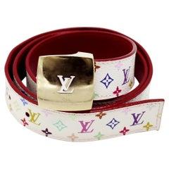 Louis Vuitton Murakami White Multicolor Monogram Belt 2003 (80/32)