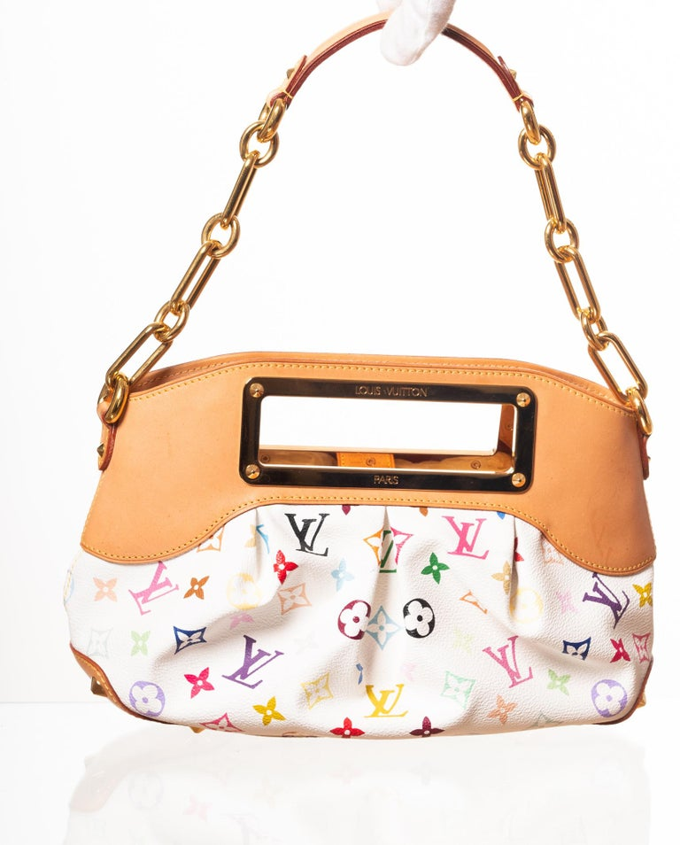 From the Takashi Murakami Collection. This style is made of white canvas with multicolour monogram. Featuring brass hardware, natural leather finishes, cut out handles, chain shoulder strap, top snap closure, bottom studs and alcantara interior