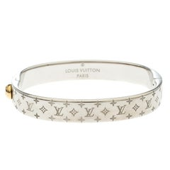 Louis Vuitton Nanogram Cuff Silver Tone Bracelet S