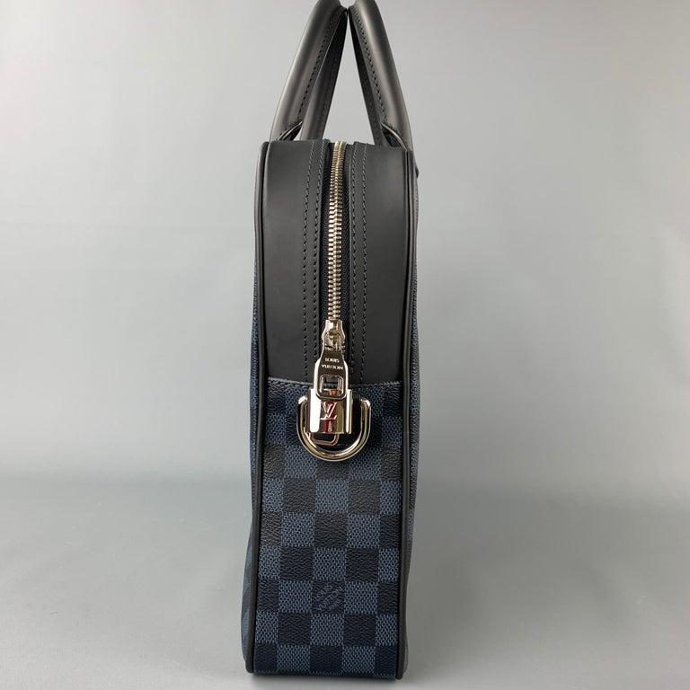 Gray LOUIS VUITTON Navy & Blue Damier Canvas Leather Canvas Porte-Documents Bag For Sale
