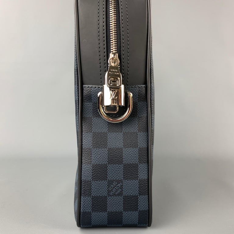 LOUIS VUITTON Navy & Blue Damier Canvas Leather Canvas Porte-Documents Bag In New Condition For Sale In San Francisco, CA