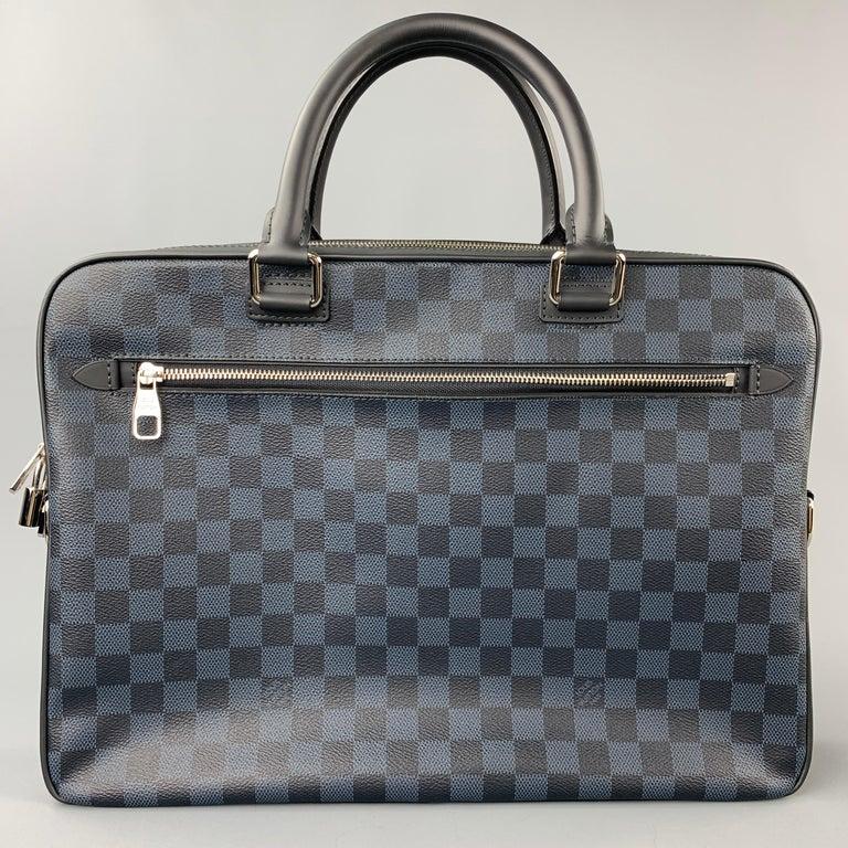 Men's LOUIS VUITTON Navy & Blue Damier Canvas Leather Canvas Porte-Documents Bag For Sale