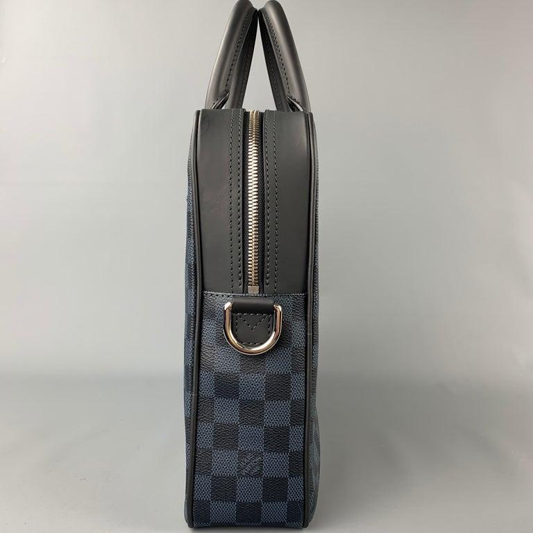 LOUIS VUITTON Navy & Blue Damier Canvas Leather Canvas Porte-Documents Bag For Sale 1
