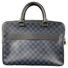 LOUIS VUITTON Navy & Blue Damier Canvas Leather Canvas Porte-Documents Bag