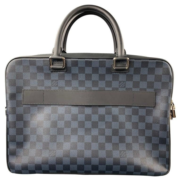LOUIS VUITTON Navy & Blue Damier Canvas Leather Canvas Porte-Documents Bag For Sale