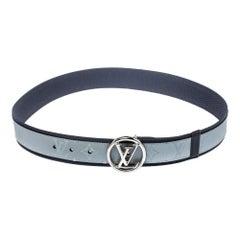 Louis Vuitton Navy Blue/Grey Monogram Fabric LV Circle Belt 90CM