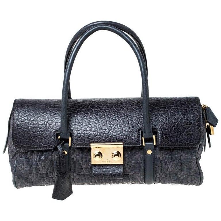 Louis Vuitton Navy Blue Gris Monogram Limited Edition Volupte Beaute Bag For Sale