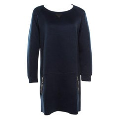 Louis Vuitton Navy Blue Knit Leather Pocket Trim Detail Long Sleeve Dress L