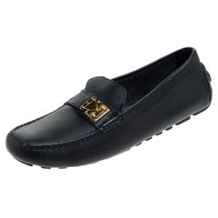 Louis Vuitton Navy Blue Leather Suhali Lombok Driving Loafers Size 37