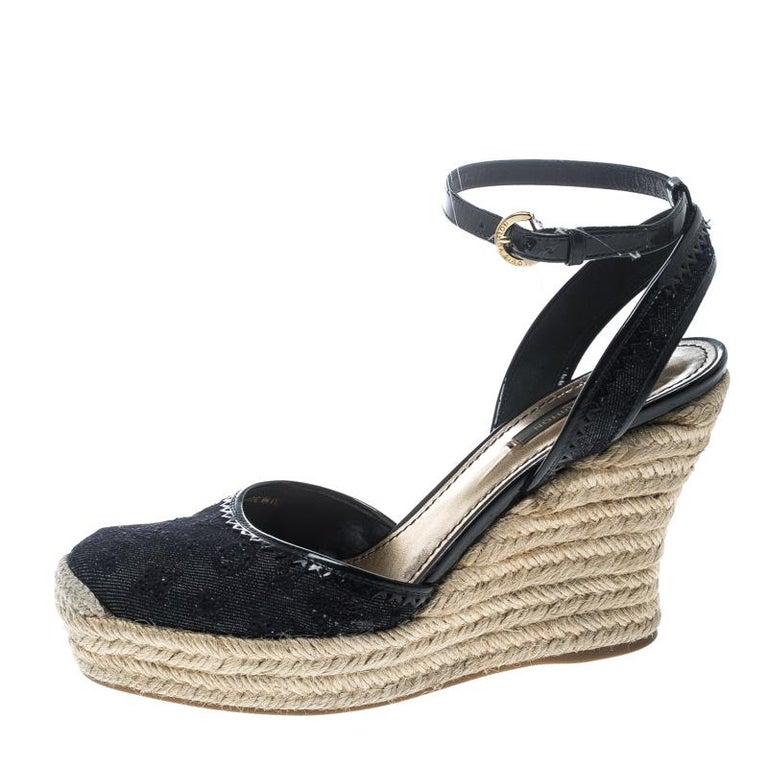 a26c106722 Louis Vuitton Navy Blue Monogram Canvas Espadrille Wedge Sandals