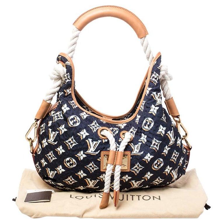 Louis Vuitton Navy Blue Monogram Nylon Limited Edition Bulles MM Bag For Sale 8