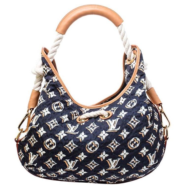 Women's Louis Vuitton Navy Blue Monogram Nylon Limited Edition Bulles MM Bag For Sale