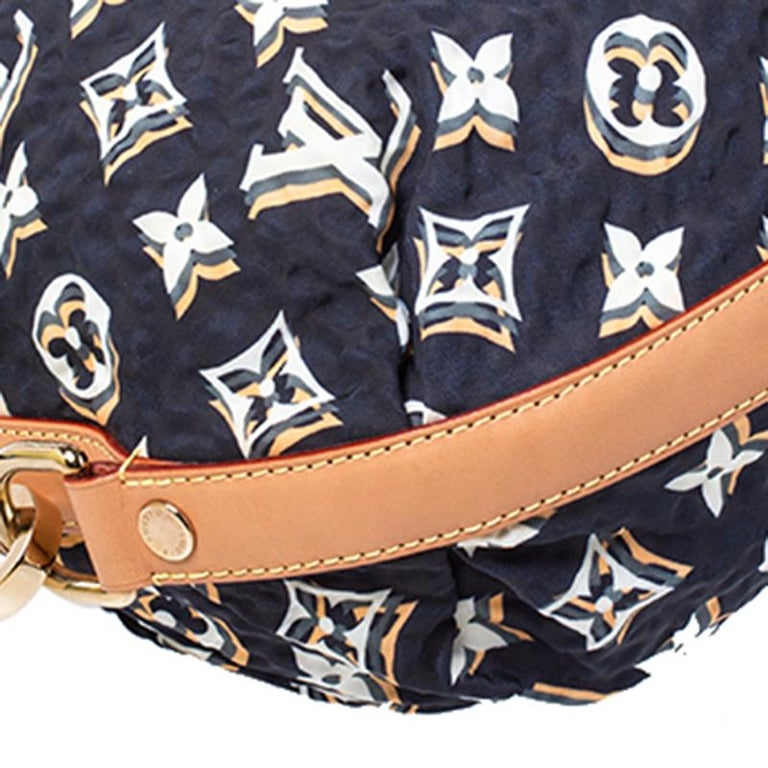 Louis Vuitton Navy Blue Monogram Nylon Limited Edition Bulles MM Bag For Sale 2