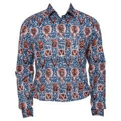 Louis Vuitton Navy Blue Printed Cotton Long Sleeve Shirt L