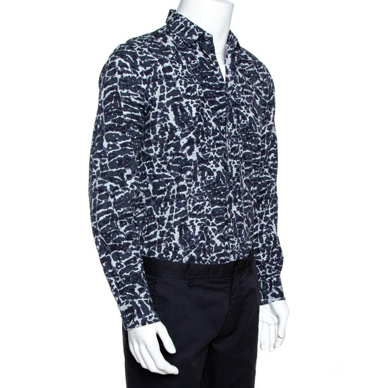 Black Louis Vuitton Navy Blue Printed Cotton Long Sleeve Shirt M For Sale
