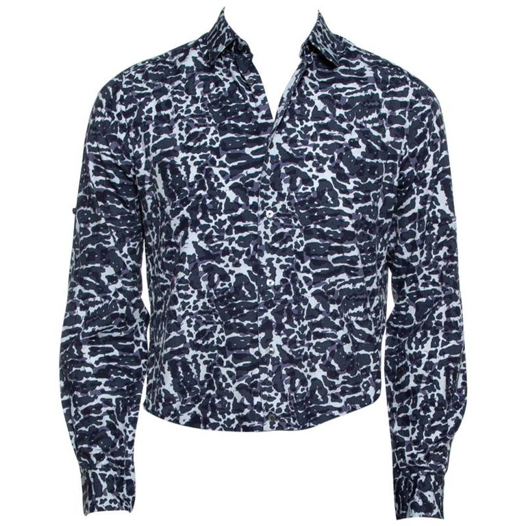 Louis Vuitton Navy Blue Printed Cotton Long Sleeve Shirt M For Sale