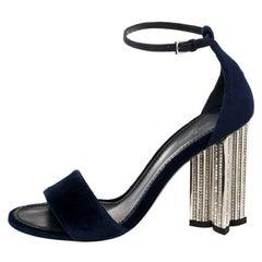 Louis Vuitton Navy Blue Velvet Silhouette Crystal Embellished Sandals Size 37.5