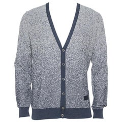 Louis Vuitton Navy Blue & White Knit Striped Pattern Cardigan L