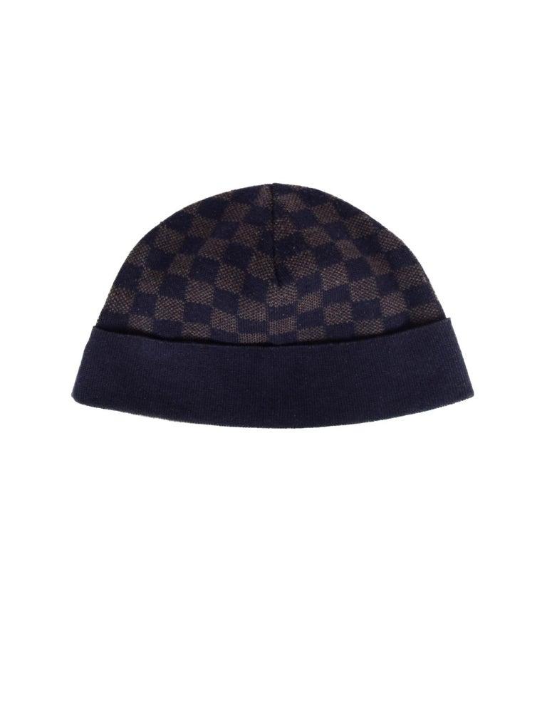 d0b70a21 Black Louis Vuitton Navy/Brown Wool Bonnet Petit Damier Beanie Hat For Sale