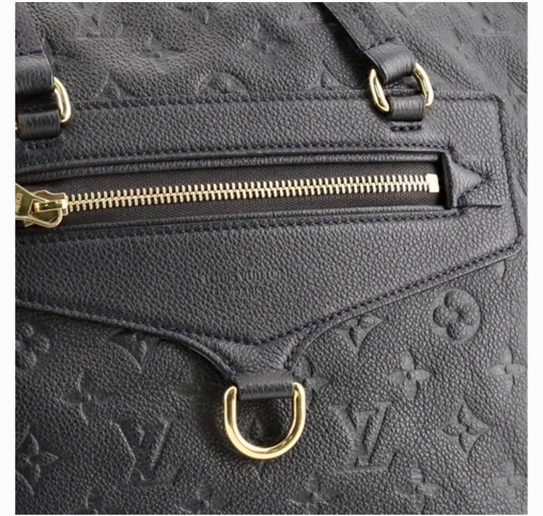 Louis Vuitton Navy Empreinte Leather Lumineuse PM Bag ,Monogram with Box and Bag For Sale 7