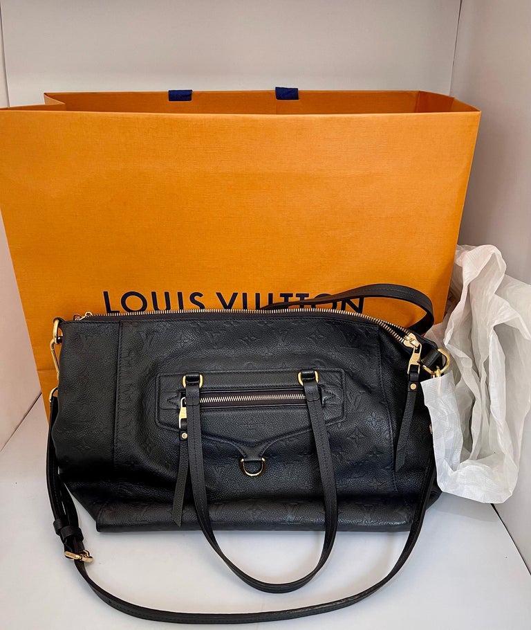 Louis Vuitton Navy Empreinte Leather Lumineuse PM Bag ,Monogram with Box and Bag In Excellent Condition For Sale In Scarsdale, NY
