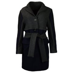 Louis Vuitton Navy Grey Wool Coat with Belt sz FR36