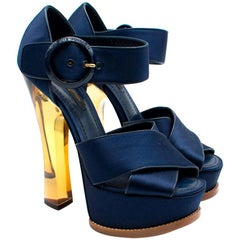 Louis Vuitton Navy Satin Florida Platform Sandals 36