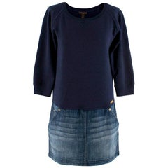Louis Vuitton Navy Sweatshirt Denim Skirt Dress S