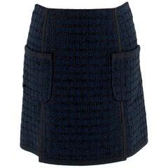 Louis Vuitton Navy Tweed Miniskirt XS 34