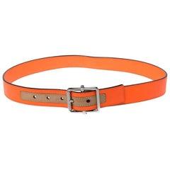 Louis Vuitton Neon Orange Damier Infini Leather Belt Size 85CM