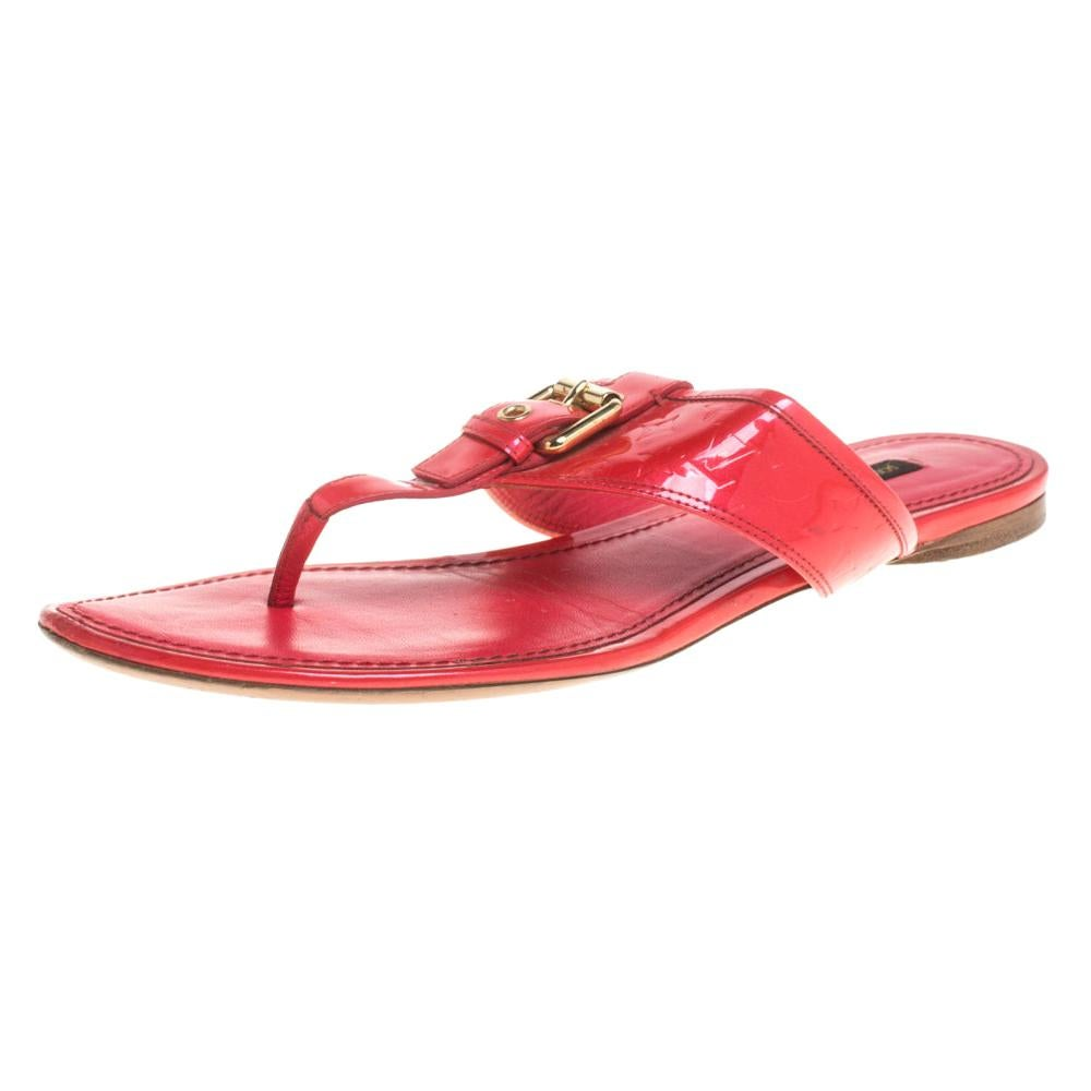 Louis Vuitton Neon Pink Monogram Patent Leather Thong Flats Size 39.5