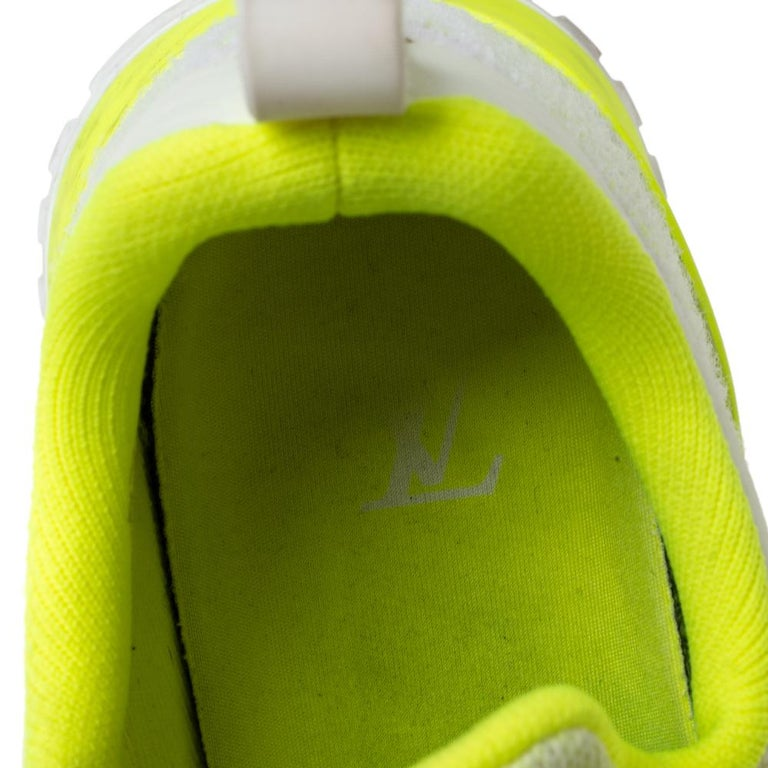 Louis Vuitton Neon Yellow Knit Fabric V.N.R Sneakers Size 41 For Sale 1