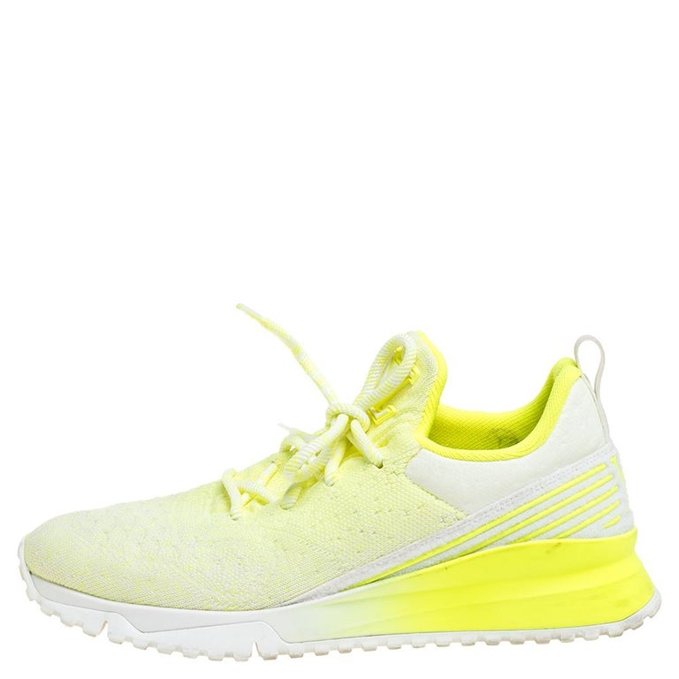 Louis Vuitton Neon Yellow Knit Fabric V.N.R Sneakers Size 41 For Sale 2