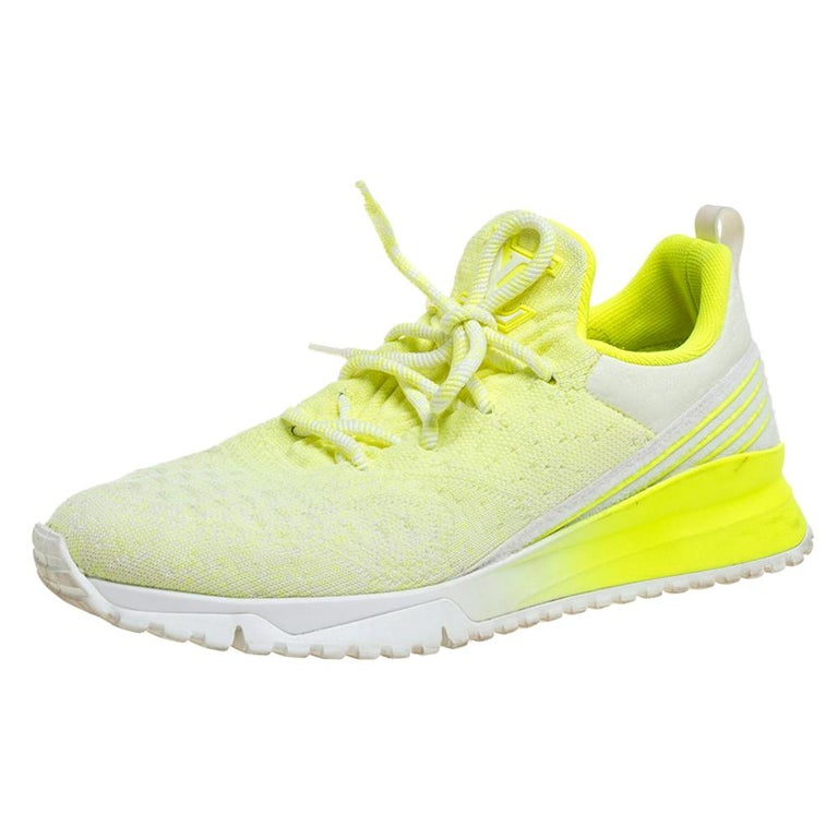 Louis Vuitton Neon Yellow Knit Fabric V.N.R Sneakers Size 41 For Sale