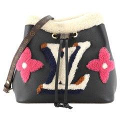 Louis Vuitton NeoNoe Handbag Leather and Monogram Teddy Shearling MM