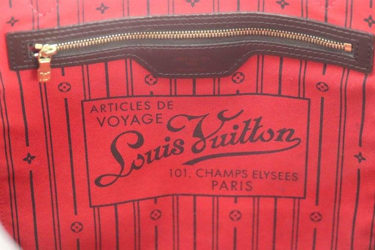 Louis Vuitton Neverfall MM Damier Ebène Canvas & Leather Tote Bag For Sale 6