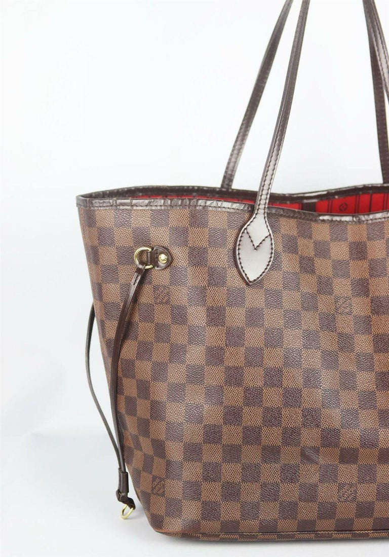 Brown Louis Vuitton Neverfall MM Damier Ebène Canvas & Leather Tote Bag For Sale