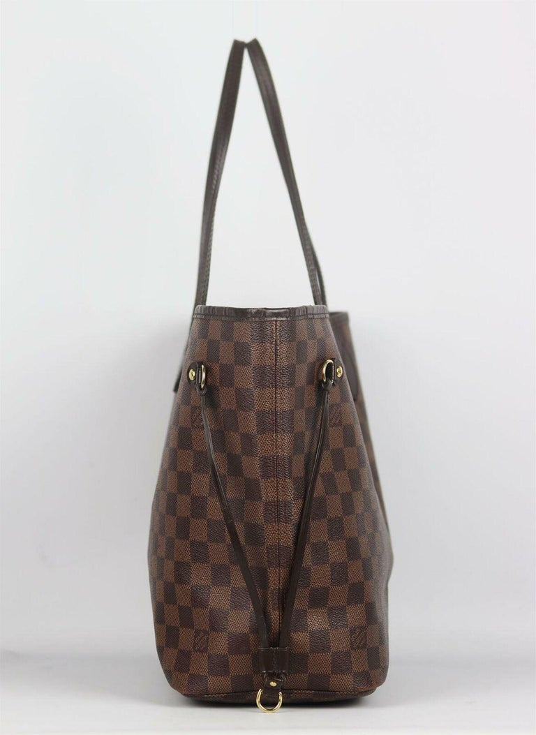 Louis Vuitton Neverfall MM Damier Ebène Canvas & Leather Tote Bag In Good Condition For Sale In London, GB