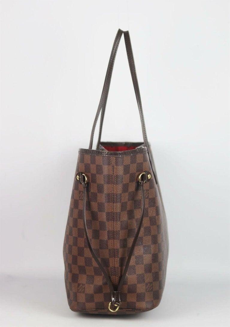 Women's Louis Vuitton Neverfall MM Damier Ebène Canvas & Leather Tote Bag For Sale