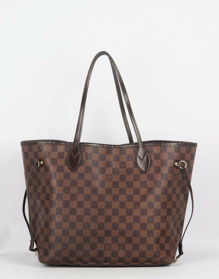 Louis Vuitton Neverfall MM Damier Ebène Canvas & Leather Tote Bag For Sale 1