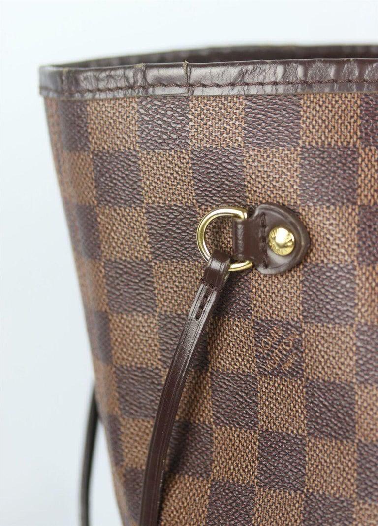 Louis Vuitton Neverfall MM Damier Ebène Canvas & Leather Tote Bag For Sale 3