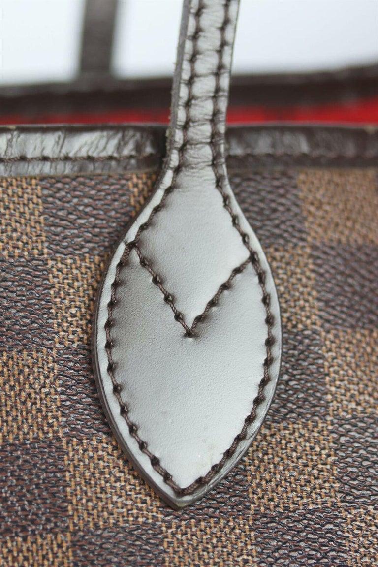 Louis Vuitton Neverfall MM Damier Ebène Canvas & Leather Tote Bag For Sale 4