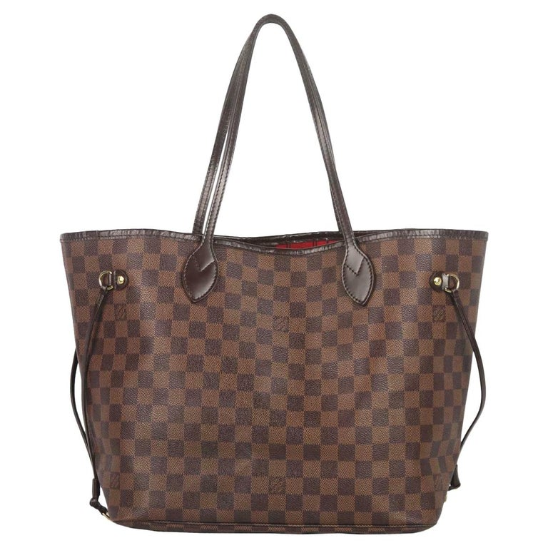 Louis Vuitton Neverfall MM Damier Ebène Canvas & Leather Tote Bag For Sale