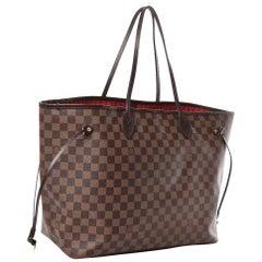 LOUIS VUITTON  Neverfull GM Huge Shoulder Bag Damier Ebene, Red Interior