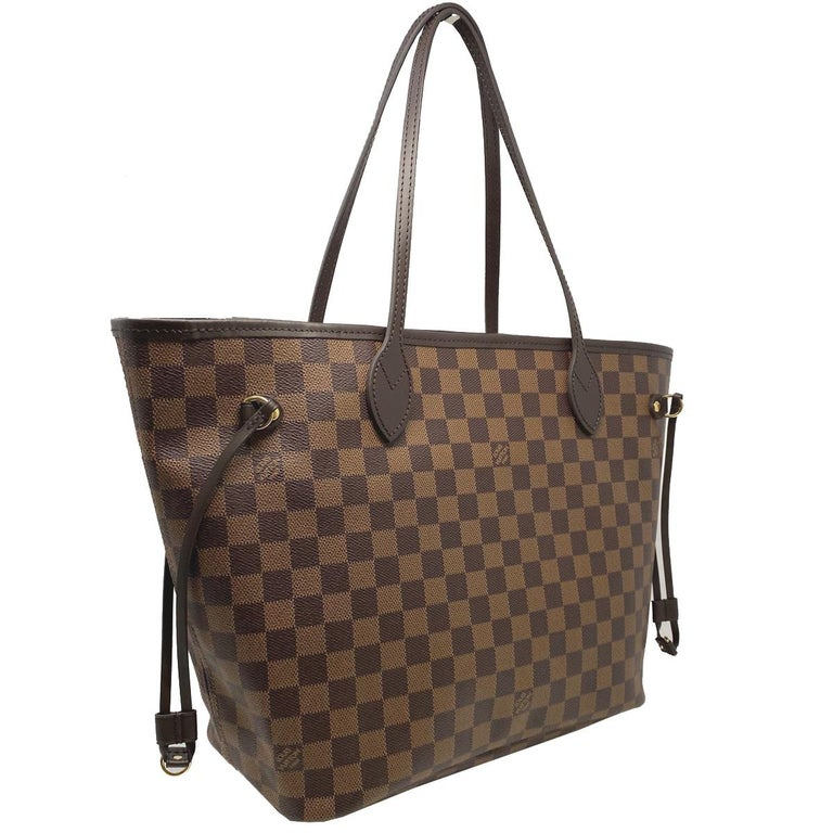 Black Louis Vuitton Neverfull MM Cherry Damier Ebene Leather Canvas Tote Handbag