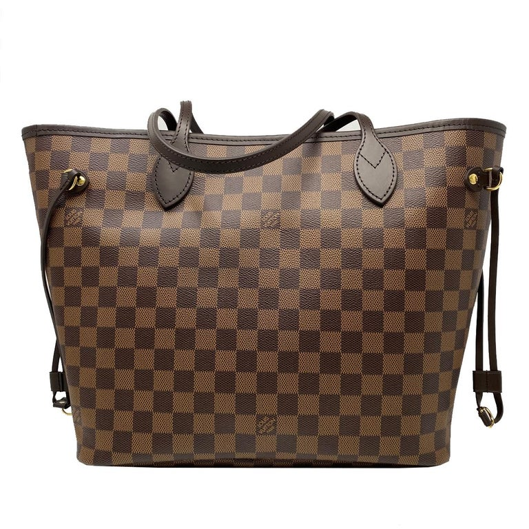 Louis Vuitton Neverfull MM Cherry Damier Ebene Leather Canvas Tote Handbag In New Condition In Boca Raton, FL