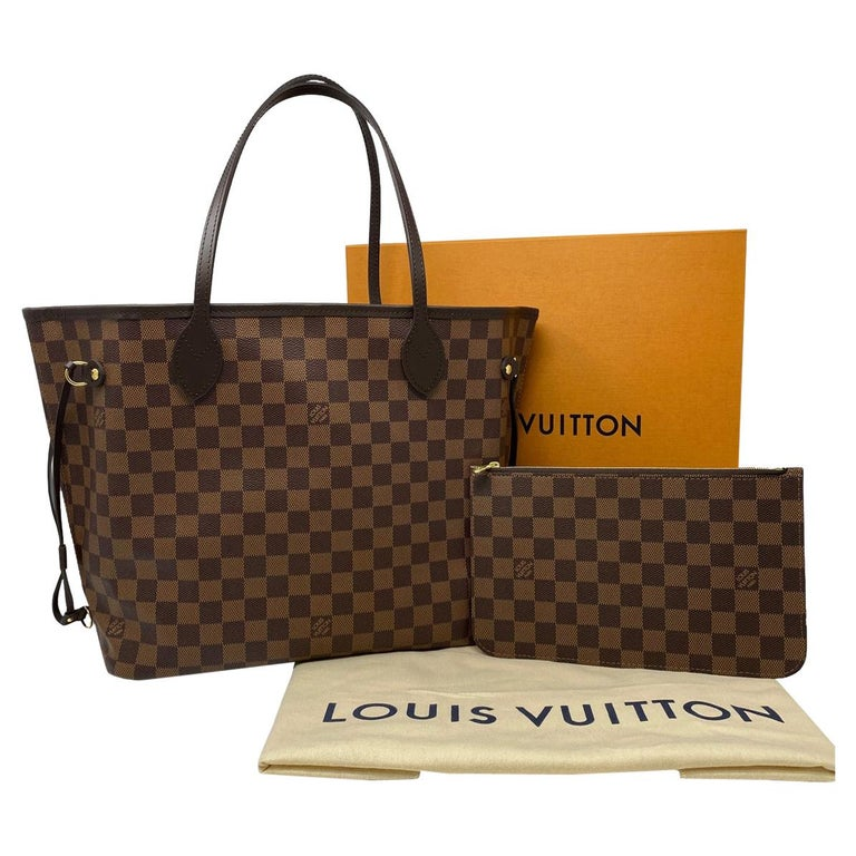 Louis Vuitton Neverfull MM Cherry Damier Ebene Leather Canvas Tote Handbag