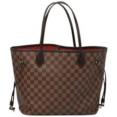 Louis Vuitton Neverfull MM Damier Ebene Tote with Pochette, Dust bag & Receipt
